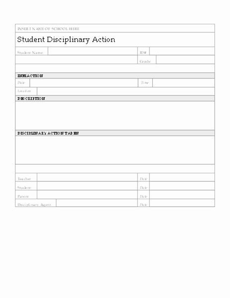 Disciplinary Action form Template Awesome Student Disciplinary Action form