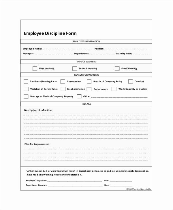 Disciplinary Action form Template Elegant Employee Discipline form 6 Free Word Pdf Documents