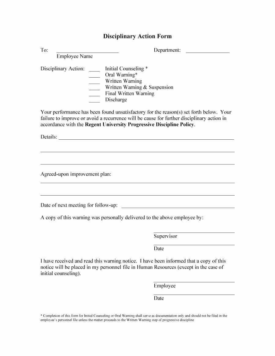 Disciplinary Action form Template Lovely 46 Effective Employee Write Up forms [ Disciplinary