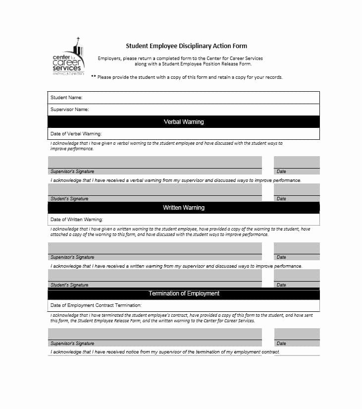 Disciplinary Action form Template New 40 Employee Disciplinary Action forms Template Lab