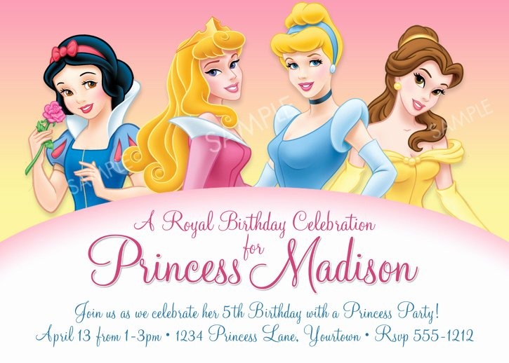 disney princess birthday invitations for girl