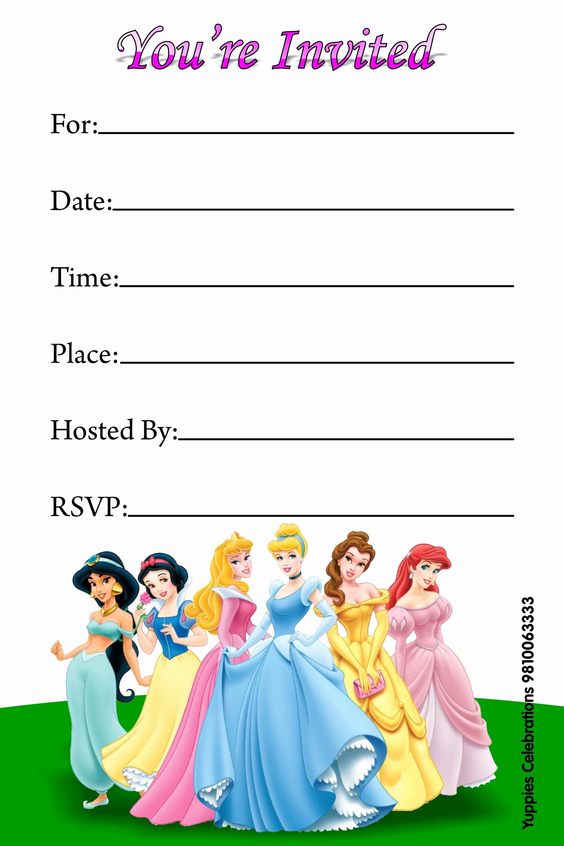 Disney Princess Invitation Template Beautiful Disney Princess Invitations