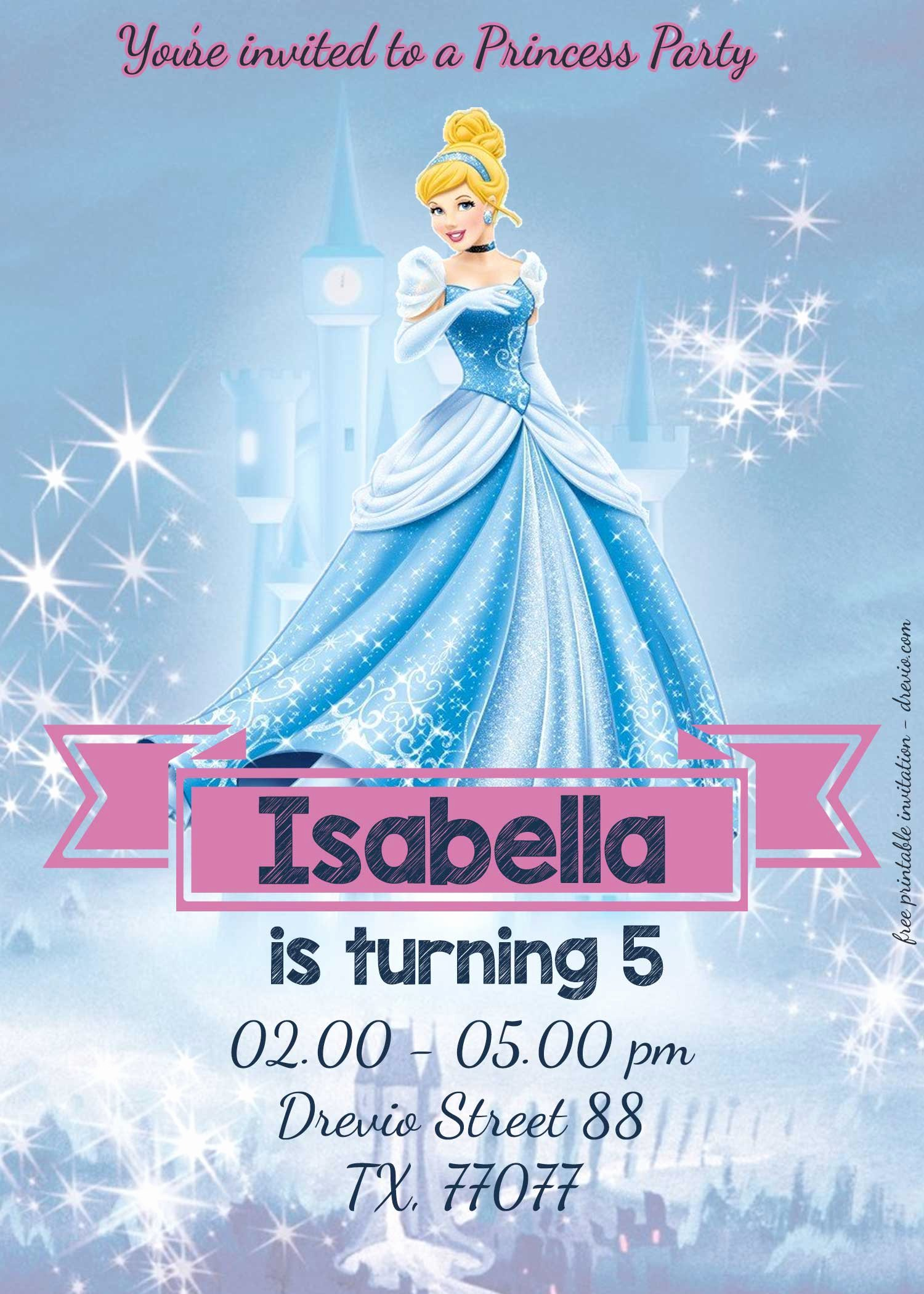 Disney Princess Invitation Template Beautiful Free Disney Princesses Birthday Invitation Templates