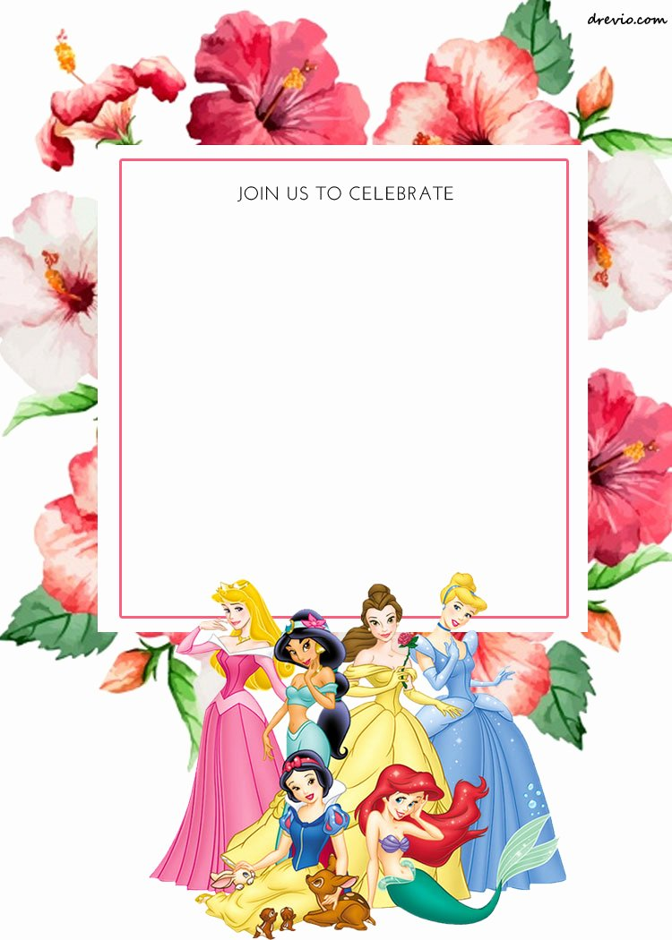 Disney Princess Invitation Template Beautiful Free Printable Disney Princess Floral Invitation Template