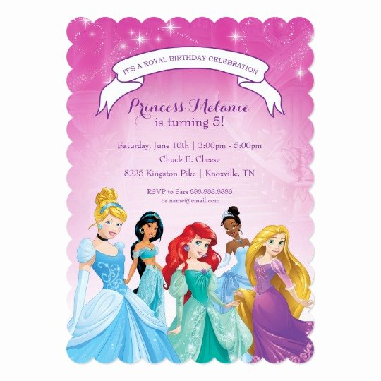 Disney Princess Invitation Template Elegant Disney Princess Birthday Invitation