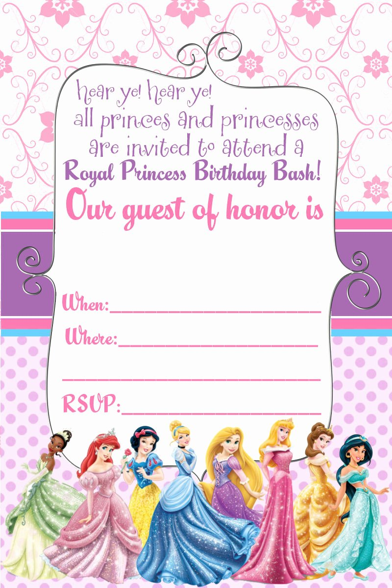 Disney Princess Invitation Template Elegant Free Printable Disney Princess Ticket Invitation Template