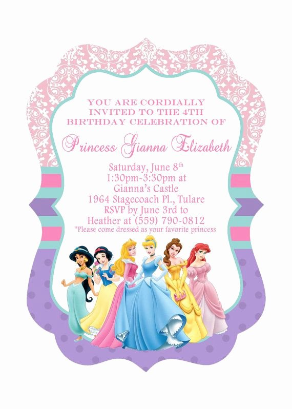 Disney Princess Invitation Template Fresh 5x7 ornate Disney Princess Birthday Invitation Front