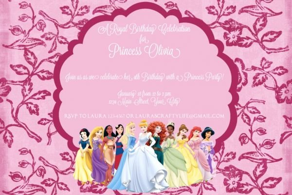 Disney Princess Invitation Template Fresh Disney Princess Party Invitation Laura S Crafty Life