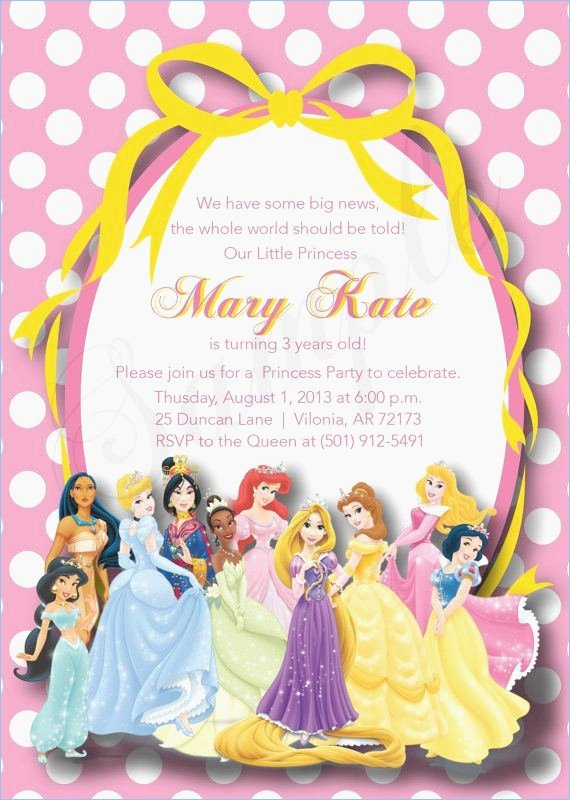 Disney Princess Invitation Template Fresh Invitation Ideas Disney Princess Party Invitations