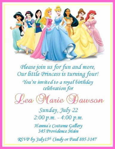 Disney Princess Invitation Template Lovely Disney Princesses Personalized Birthday Invitations