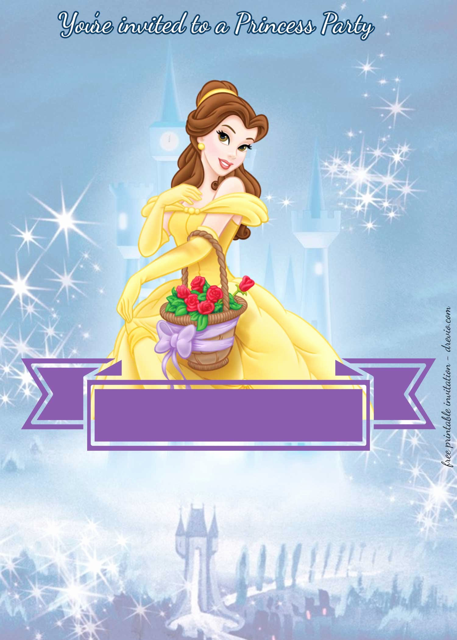 Disney Princess Invitation Template Lovely Free Disney Princesses Birthday Invitation Templates