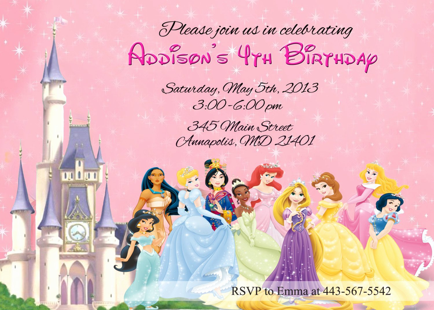Disney Princess Invitation Template Luxury Disney Princesses Birthday Invitations Disney Princess