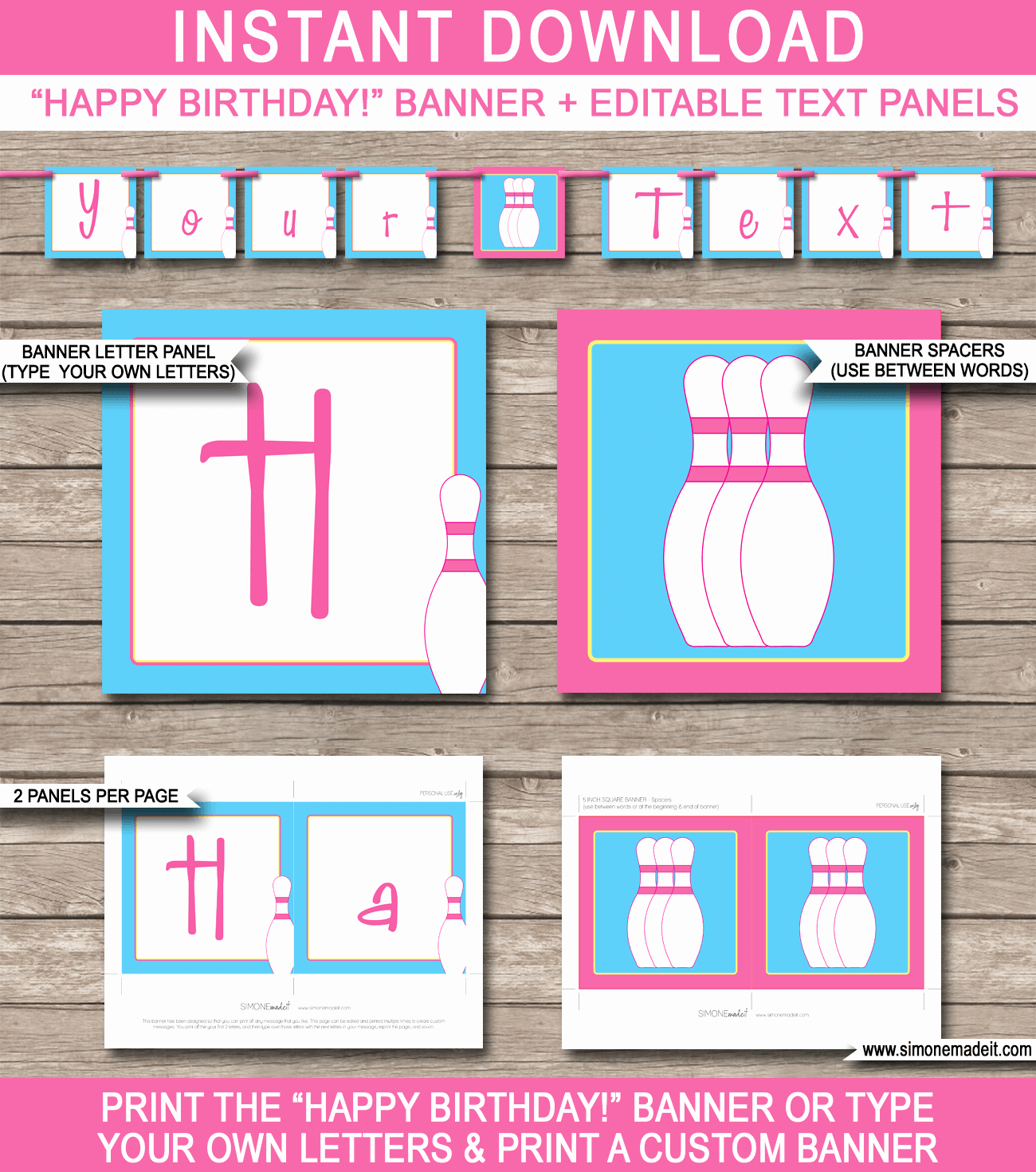 Diy Birthday Banner Template Luxury Bowling Party Banner Template Birthday Banner