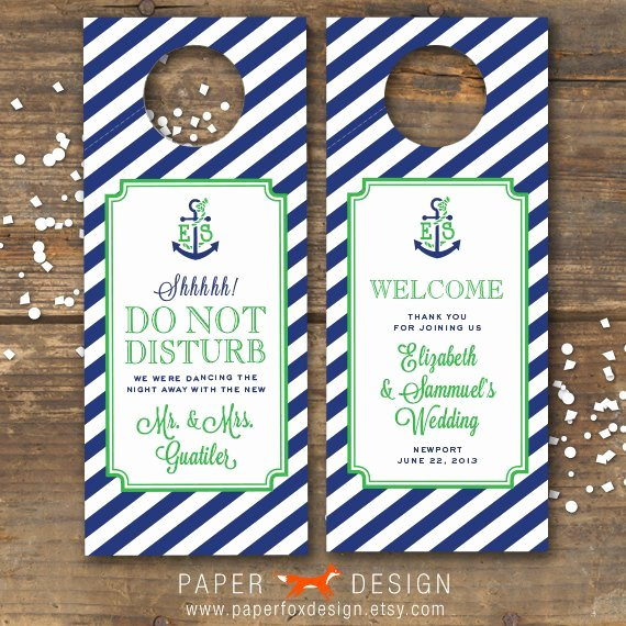 Diy Door Hanger Template Elegant Items Similar to Wedding Door Hanger Printable Nautical
