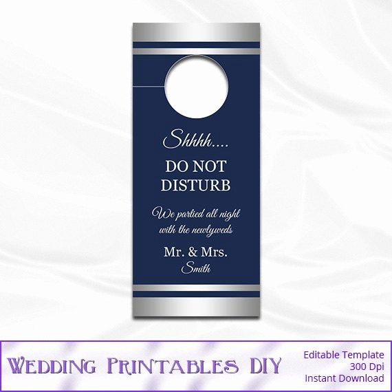 Diy Door Hanger Template Elegant Items Similar to Wedding Door Hanger Template Diy Navy