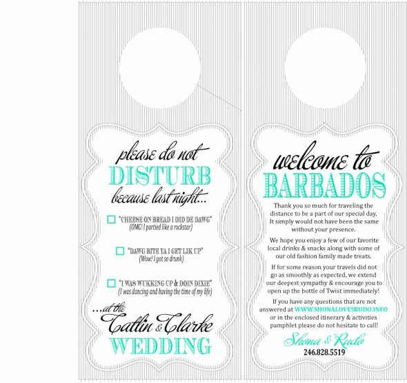 Diy Door Hanger Template Luxury Destination Wedding Oot Bag Door Hanger