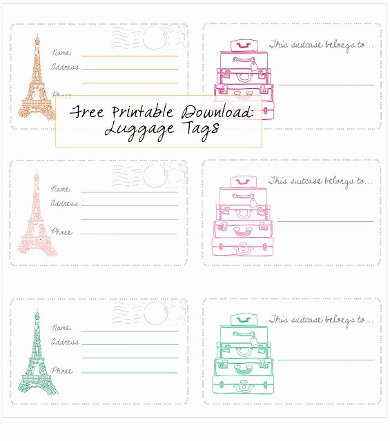 Diy Luggage Tags Template Best Of Free Printable Luggage Tags