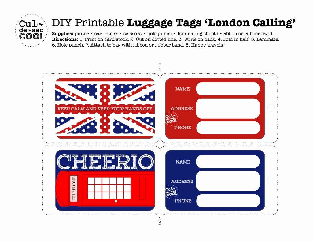 Diy Luggage Tags Template Luxury Diy Printable Luggage Tags 'london Calling'