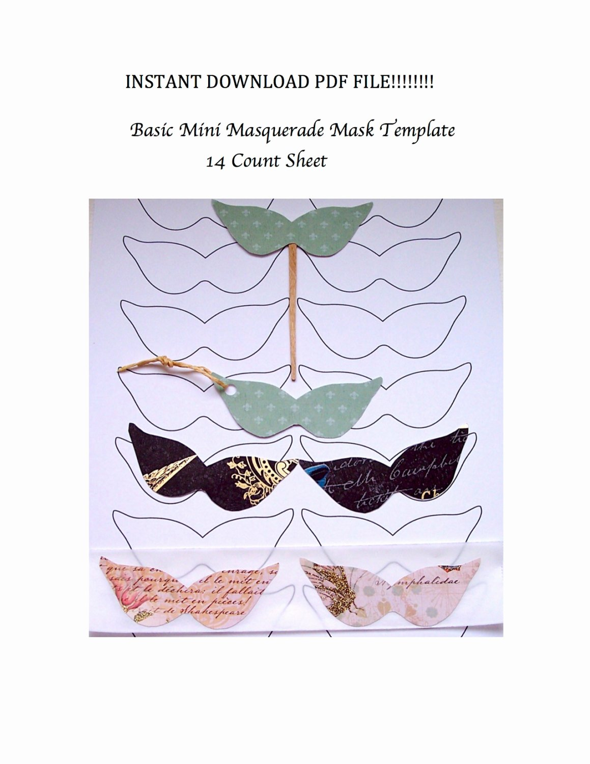 Diy Masquerade Mask Template New Instant Download Pdf Mini Masquerade Masks Template Diy