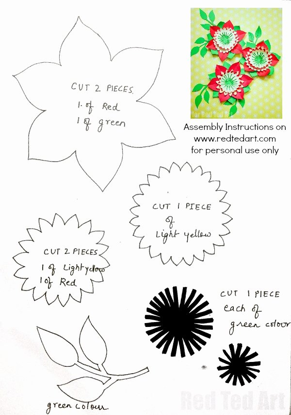 Diy Paper Flower Template Beautiful Pretty Paper Flowers Diy Including Template Red Ted Art
