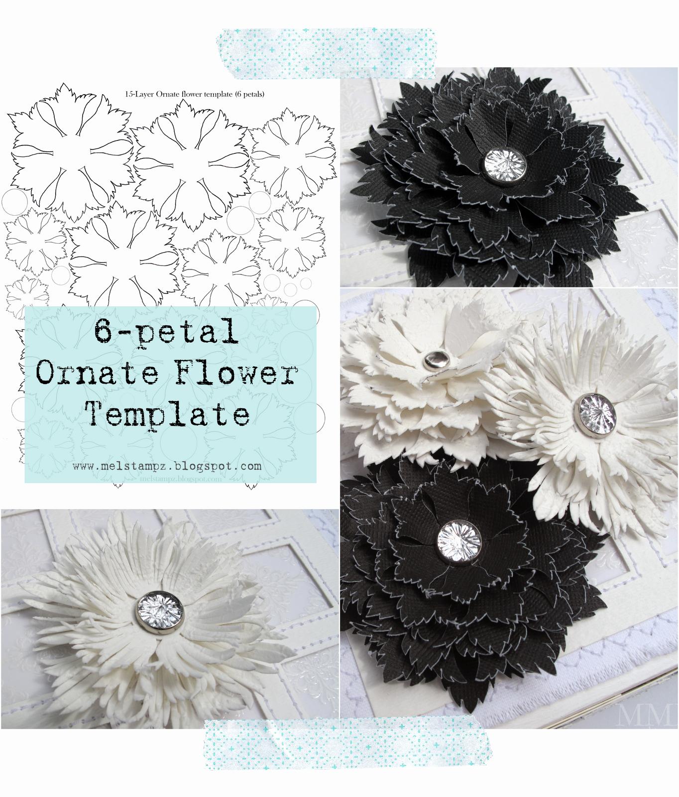 Diy Paper Flower Template Luxury Mel Stampz 6 Petal ornate Flower Template