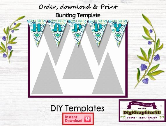 Diy Pennant Banner Template Best Of Bunting Pennant Banner Diy Printable Template Instant