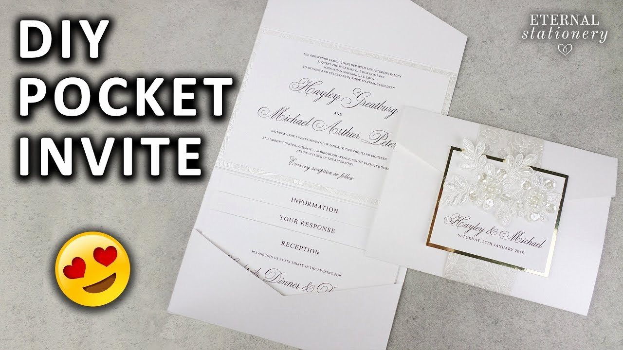 Diy Pocket Invitations Template Beautiful Diy Pocketfold Invitation with Printable Pocket Template