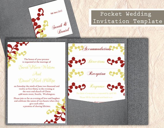 Diy Pocket Invitations Template Beautiful Pocket Wedding Invitation Template Set Diy Instant