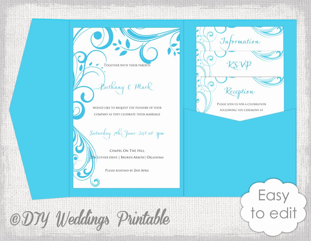 Diy Pocket Invitations Template Inspirational Pocket Wedding Invitation Template Diy Malibu Blue Pocketfold