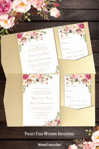 Diy Pocket Invitations Template Inspirational Printable Wedding Templates Romantic Blossoms Diy