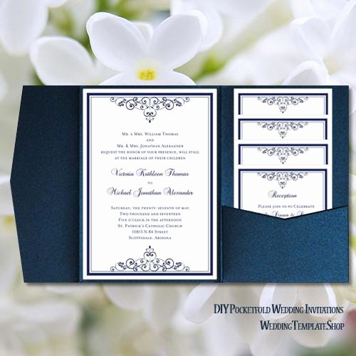 Diy Pocket Invitations Template New Pocket Fold Wedding Invitations Vintage Navy Blue 5x7