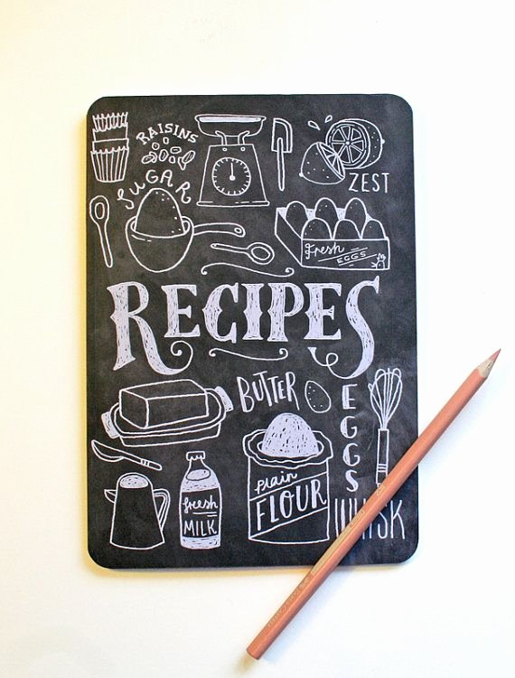 Diy Recipe Book Template Beautiful A5 Blank Notebook Hand Lettered Recipe Book by
