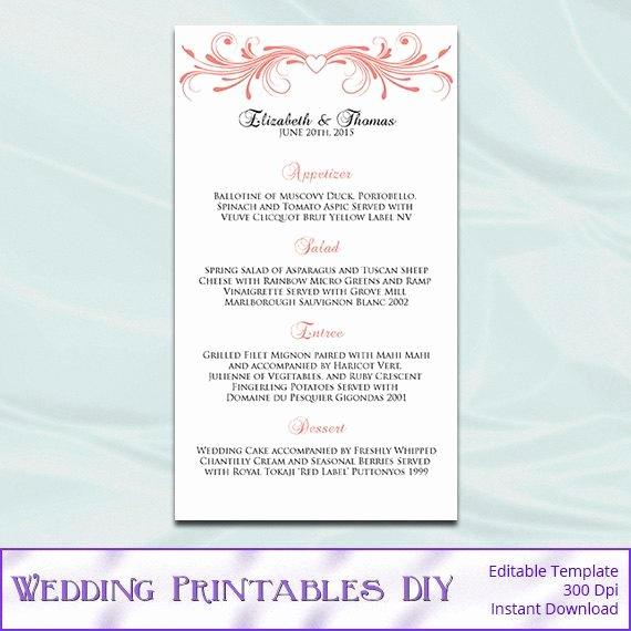 Diy Wedding Menu Template Awesome Items Similar to Wedding Menu Template Diy Coral Heart