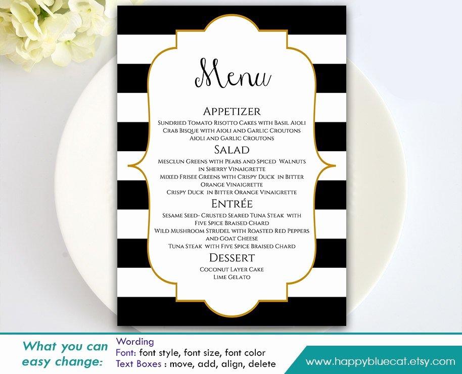 Diy Wedding Menu Template Beautiful Diy Printable Wedding Menu Template Instant Download