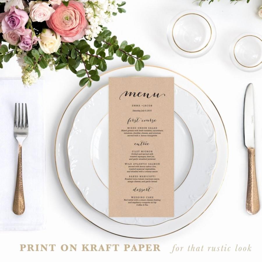 Diy Wedding Menu Template Beautiful Rustic Printable Wedding Menu Template 4x9 Wedding Menu
