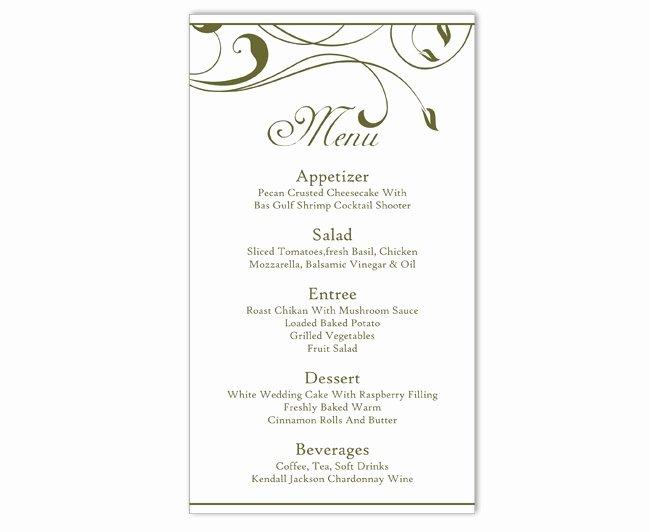 Diy Wedding Menu Template Fresh Wedding Menu Template Diy Menu Card Template Editable Text