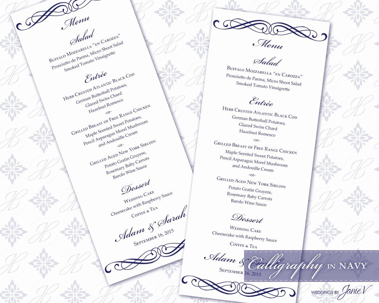 Diy Wedding Menu Template Inspirational Diy Printable Wedding Menu Template Printable Menu Tea