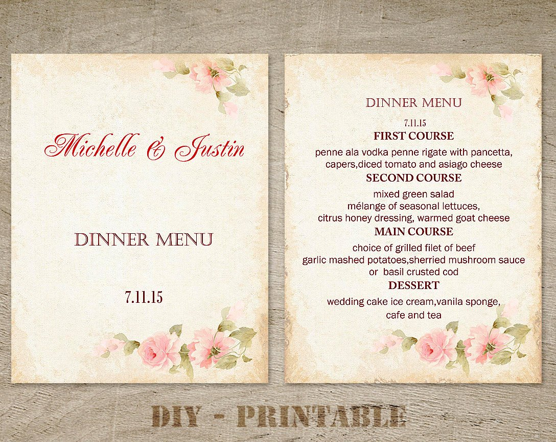 Diy Wedding Menu Template Lovely Diy Wedding Menu Template Floral Wedding Menu by Wordcard