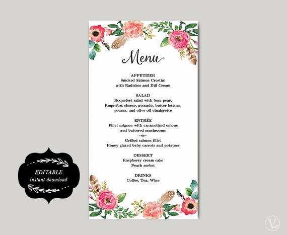 Diy Wedding Menu Template Lovely Printable Wedding Menu Template Diy Wedding Menu Simple and