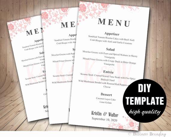 Diy Wedding Menu Template Luxury Pink Wedding Menu Card Template Diy Printable Menu Cardpink