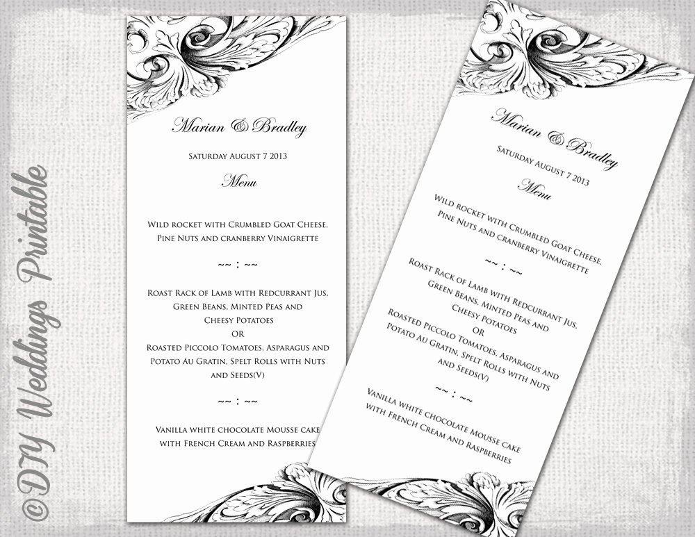 Diy Wedding Menu Template New Menu Template Black & White Diy Wedding Menu Vintage