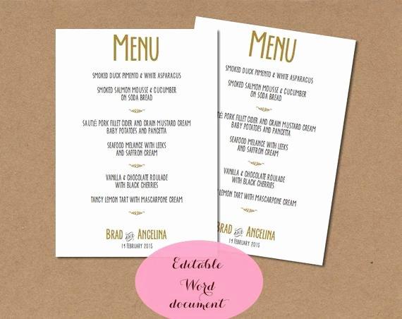 Diy Wedding Menu Template Unique Diy Printable Wedding Menu Template Gold Wedding by