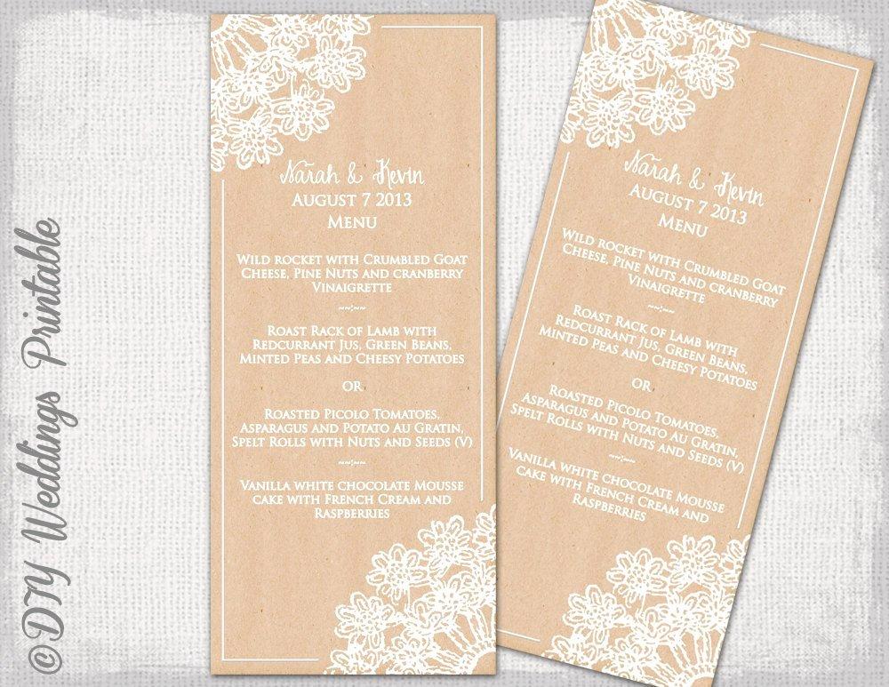 Diy Wedding Menu Template Unique Rustic Wedding Menu Template Diy Wedding Menu Lace