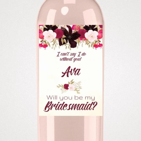 Diy Wine Labels Template Fresh Boho Bridesmaid Proposal Wine Label Template A Bohemian