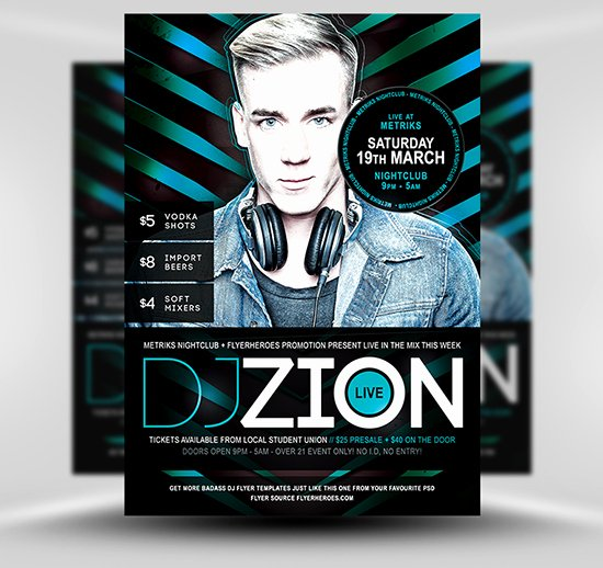 Dj Flyer Template Free Beautiful Zion Free Dj Nightclub Flyer Template Flyerheroes