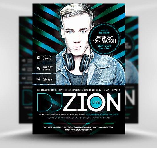 Dj Flyer Template Free Beautiful Zion Free Dj Nightclub Flyer Template Flyerheroes