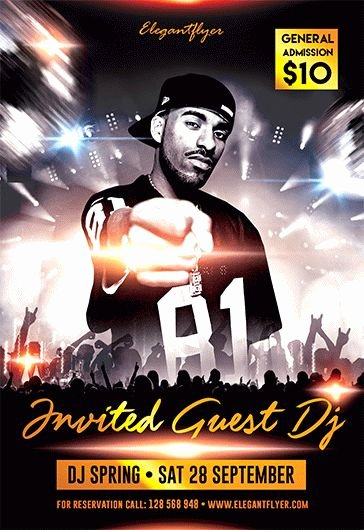 Dj Flyer Template Free Lovely Dj Flyer Templates Invited Guest Dj Free Flyer Psd