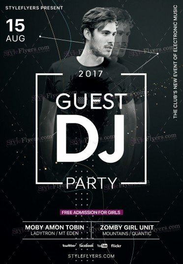 Dj Flyer Template Free Lovely Guest Dj Party Psd Flyer Template Styleflyers
