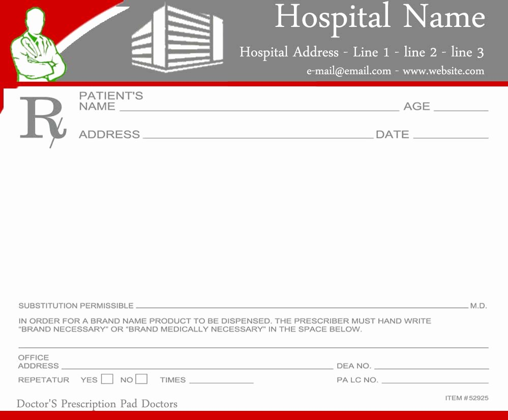 Doctor Prescription Pad Template Lovely Prescription Pads Template for Doctors