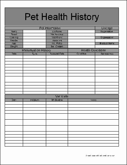 Dog Health Record Template Beautiful Free Basic Pet Health History